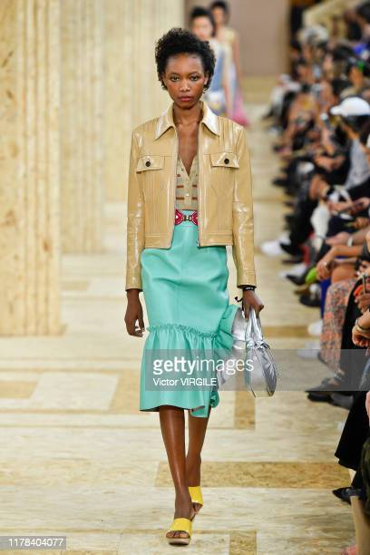 Model walks the runway during the Miu Miu Ready to Wear Spring/Summer 2020 fashion show as part of Paris Fashion Week on October 01, 2019 in Paris,...