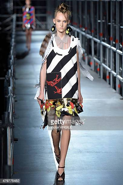 A model walks the runway during the Miu Miu Resort 2016 show as part of Paris Fashion Week Fall/Winter 2015/2016 on July 4 2015 in Paris France