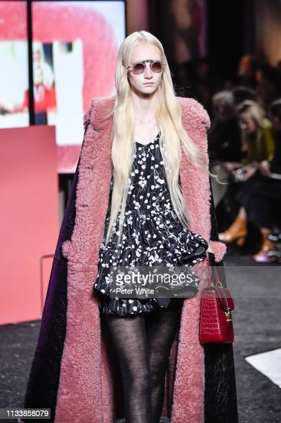Model walks the runway during the Miu Miu show as part of the Paris Fashion Week Womenswear Fall/Winter 2019/2020 on March 05, 2019 in Paris, France.