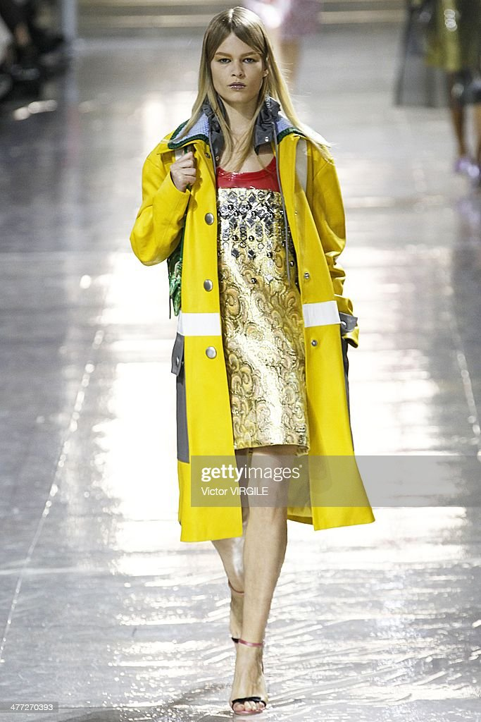 A model walks the runway during the Miu Miu show as part of the Paris Fashion Week Womenswear Fall/Winter 2014-2015 on March 5, 2014 in Paris, France.