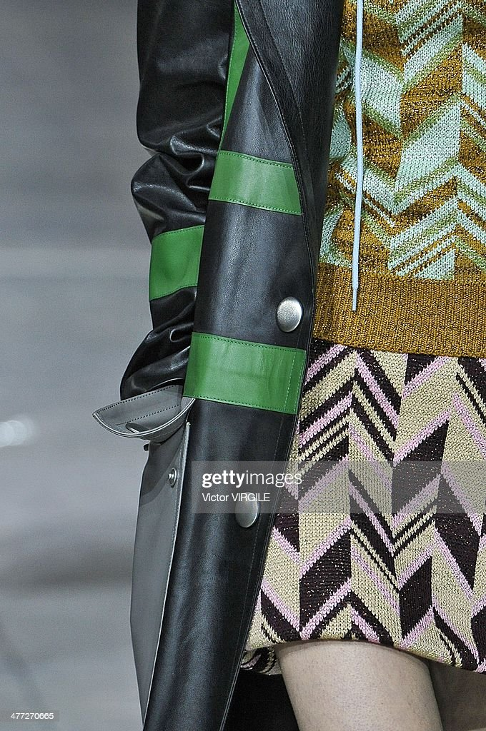 A model (detail) walks the runway during the Miu Miu show as part of the Paris Fashion Week Womenswear Fall/Winter 2014-2015 on March 5, 2014 in Paris, France.