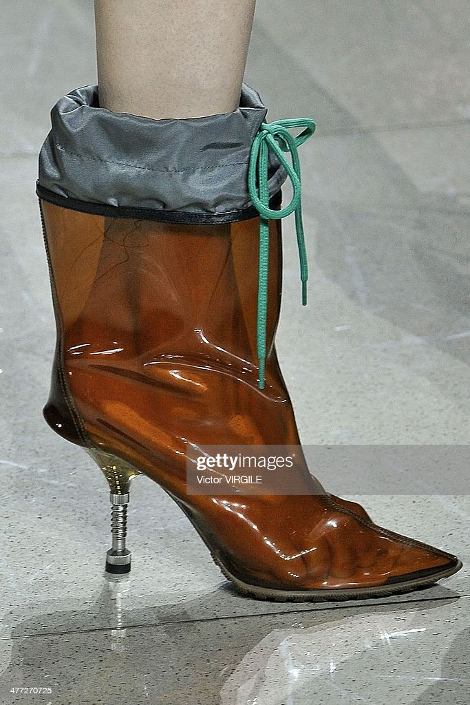 A model (shoe detail) walks the runway during the Miu Miu show as part of the Paris Fashion Week Womenswear Fall/Winter 2014-2015 on March 5, 2014 in Paris, France.