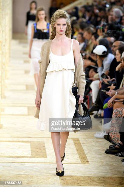 Model walks the runway during the Miu Miu Womenswear Spring/Summer 2020 show as part of Paris Fashion Week on October 01, 2019 in Paris, France.