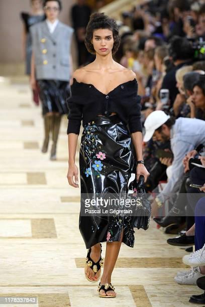 Model walks the runway during the Miu Miu Womenswear Spring/Summer 2020 show as part of Paris Fashion Week on October 01, 2019 in Paris, France.