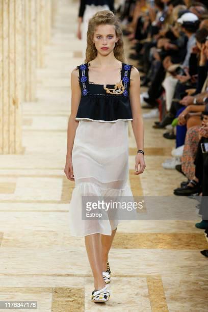 Model walks the runway during the Miu Miu Womenswear Spring/Summer 2020 show as part of Paris Fashion Week on October 1, 2019 in Paris, France.