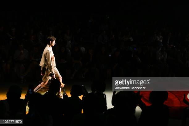 A model walks the runway during the Modem fashion show during Sao Paulo Fashion Week N46 Winter 2019 at Arca on October 22 2018 in Sao Paulo Brazil