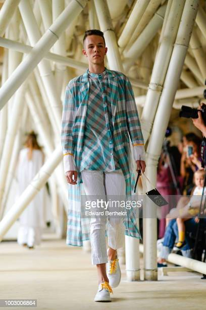 A model walks the runway during the 'Architecture in Fashion' show during Feeric Fashion Week 2018 on July 20 2018 in Sibiu Romania