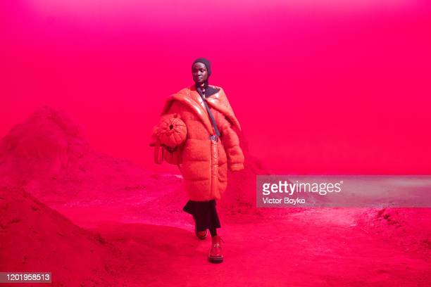 A model walks the runway during the Moncler fashion show as part of Milan Fashion Week Fall/Winter 20202021 on February 19 2020 in Milan Italy