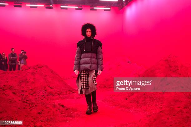 Model walks the runway during the Moncler fashion show as part of Milan Fashion Week Fall/Winter 2020-2021 on February 19, 2020 in Milan, Italy.