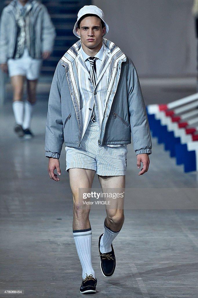 A model walks the runway during the Moncler Gamme Bleu Ready