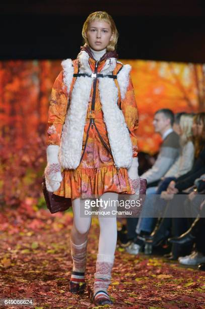 A model walks the runway during the Moncler Gamme Rouge Paris show as part of the Paris Fashion Week Womenswear Fall/Winter 2017/2018 on March 7 2017...