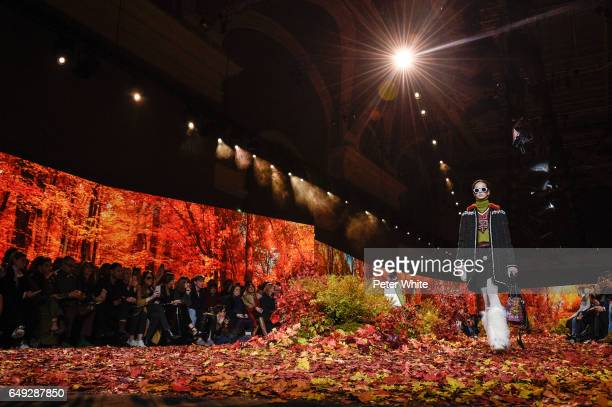 A model walks the runway during the Moncler Gamme Rouge show as part of the Paris Fashion Week Womenswear Fall/Winter 2017/2018 on March 7 2017 in...