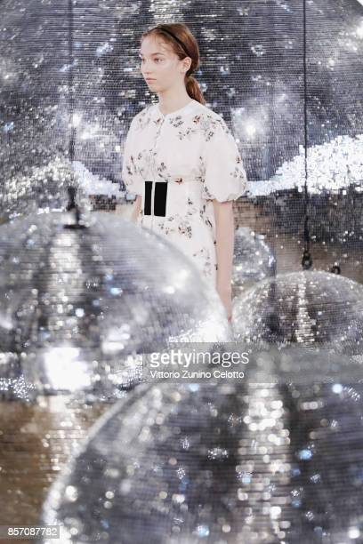 A model walks the runway during the Moncler Gamme Rouge show as part of the Paris Fashion Week Womenswear Spring/Summer 2018 on October 3 2017 in...