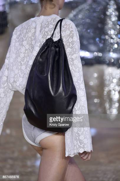 A model walks the runway during the Moncler Gamme Rouge show as part of Paris Fashion Week Womenswear Spring/Summer 2018 on October 3 2017 in Paris...