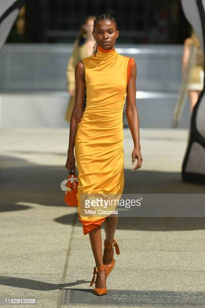 Model walks the runway during the Monse Resort 2020 Fashion Show at The Plaza at 28 Liberty St. On May 31, 2019 in New York City.