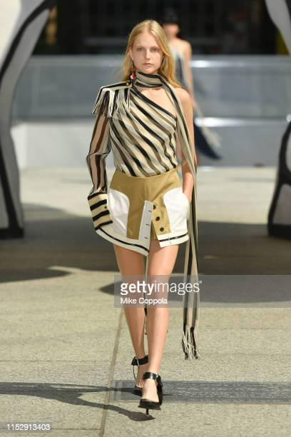A model walks the runway during the Monse Resort 2020 Fashion Show at The Plaza at 28 Liberty St on May 31 2019 in New York City