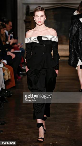 A model walks the runway during the Monse runway show during Fall 2016 New York Fashion Week at The High Line Hotel on February 12 2016 in New York...