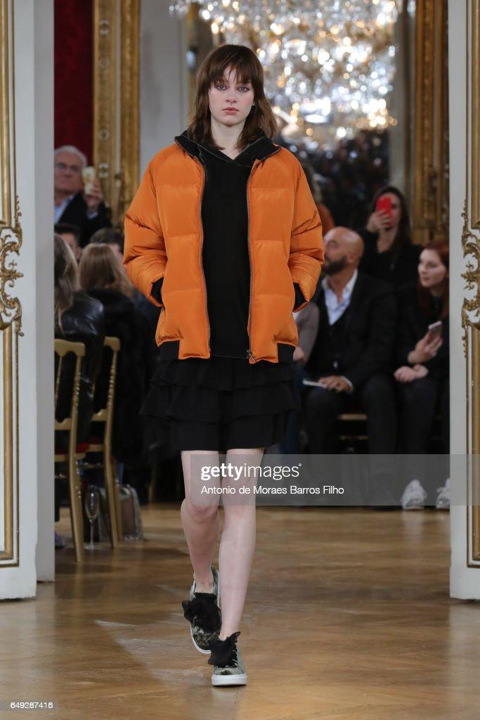 A model walks the runway during the Moon Paul & Joe Paris show as part of the Paris Fashion Week Womenswear Fall/Winter 2017/2018 on March 7, 2017 in Paris, France.