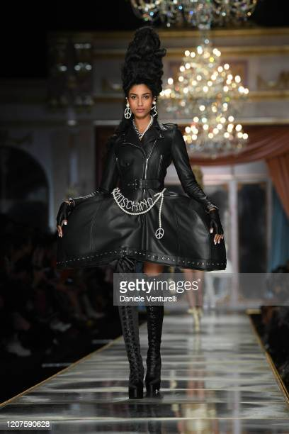 Model walks the runway during the Moschino fashion show as part of Milan Fashion Week Fall/Winter 2020-2021 on February 20, 2020 in Milan, Italy.