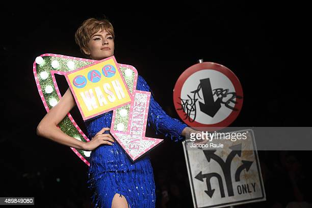 A model walks the runway during the Moschino fashion show as part of Milan Fashion Week Spring/Summer 2016 on September 24 2015 in Milan Italy