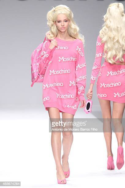 Model walks the runway during the Moschino show as a part of Milan Fashion Week Womenswear Spring/Summer 2015 on September 18, 2014 in Milan, Italy.