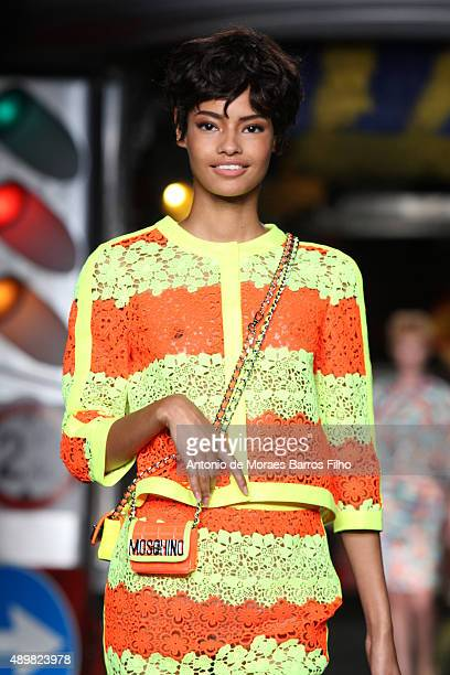 A model walks the runway during the Moschino show as a part of Milan Fashion Week Spring/Summer 2016 on September 24 2015 in Milan Italy