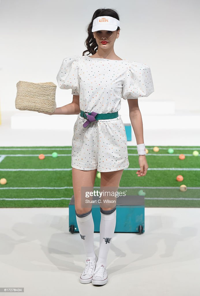A model walks the runway during the Mrs. Keepa Presentation at Fashion Forward Spring/Summer 2017 held at the Dubai Design District on October 22, 2016 in Dubai, United Arab Emirates.