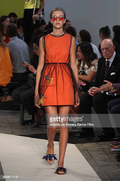 A model walks the runway during the MSGM as a part of Milan Fashion Week Womenswear Spring/Summer 2015 on September 21 2014 in Milan Italy