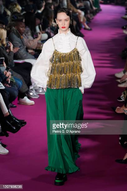A model walks the runway during the MSGM fashion show as part of Milan Fashion Week Fall/Winter 20202021 on February 22 2020 in Milan Italy