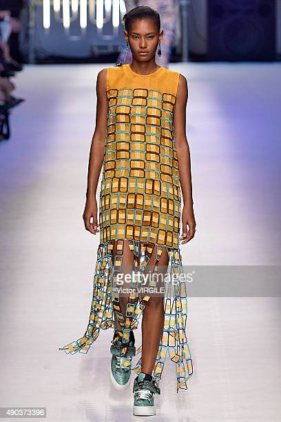 Model walks the runway during the MSGM fashion show as part of Milan Fashion Week Spring/Summer 2016 on September 27, 2015 in Milan, Italy.