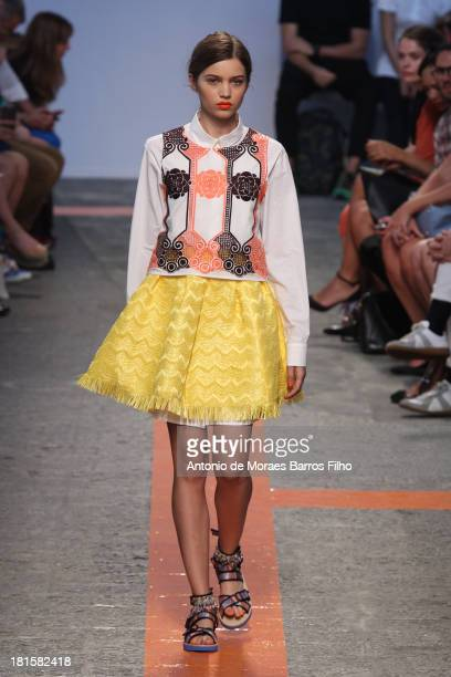 Model walks the runway during the MSGM show as a part of Milan Fashion Week Womenswear Spring/Summer 2014 on September 22, 2013 in Milan, Italy.