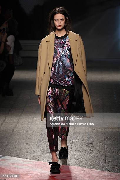 Model walks the runway during the MSGM show as a part of Milan Fashion Week Womenswear Autumn/Winter 2014 on February 23, 2014 in Milan, Italy.