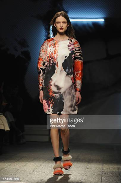 A model walks the runway during the MSGM show as part of Milan Fashion Week Womenswear Autumn/Winter 2014 on February 23 2014 in Milan Italy