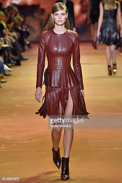 A model walks the runway during the Mugler fashion show as part of the Paris Fashion Week Womenswear Fall/Winter 2016/2017 on March 5 2016 in Paris...