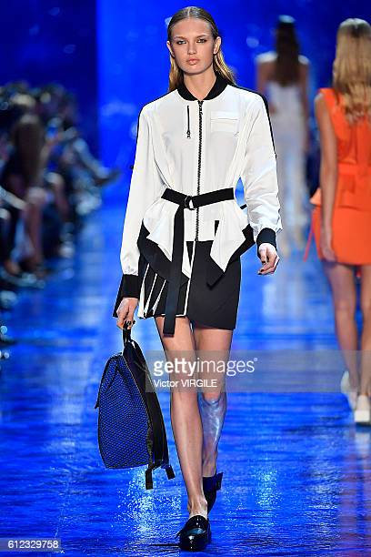 Model walks the runway during the Mugler Ready to Wear designed by David Koma fashion show as part of the Paris Fashion Week Womenswear Spring/Summer...
