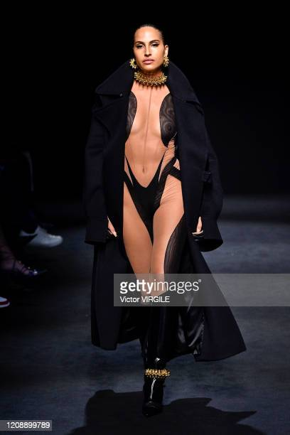 Model walks the runway during the Mugler Ready to Wear fashion show as part of the Paris Fashion Week Womenswear Fall/Winter 2020/2021 on February...