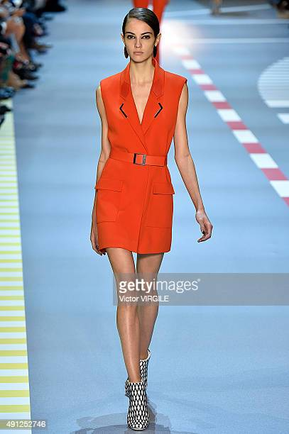 A model walks the runway during the Mugler Ready to Wear show as part of the Paris Fashion Week Womenswear Spring/Summer 2016 on October 3 2015 in...