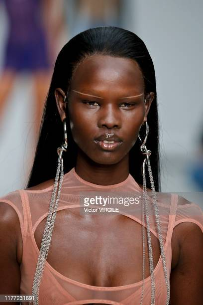 Model walks the runway during the Mugler Ready to Wear Spring/Summer 2020 fashion show as part of Paris Fashion Week on September 25, 2019 in Paris,...