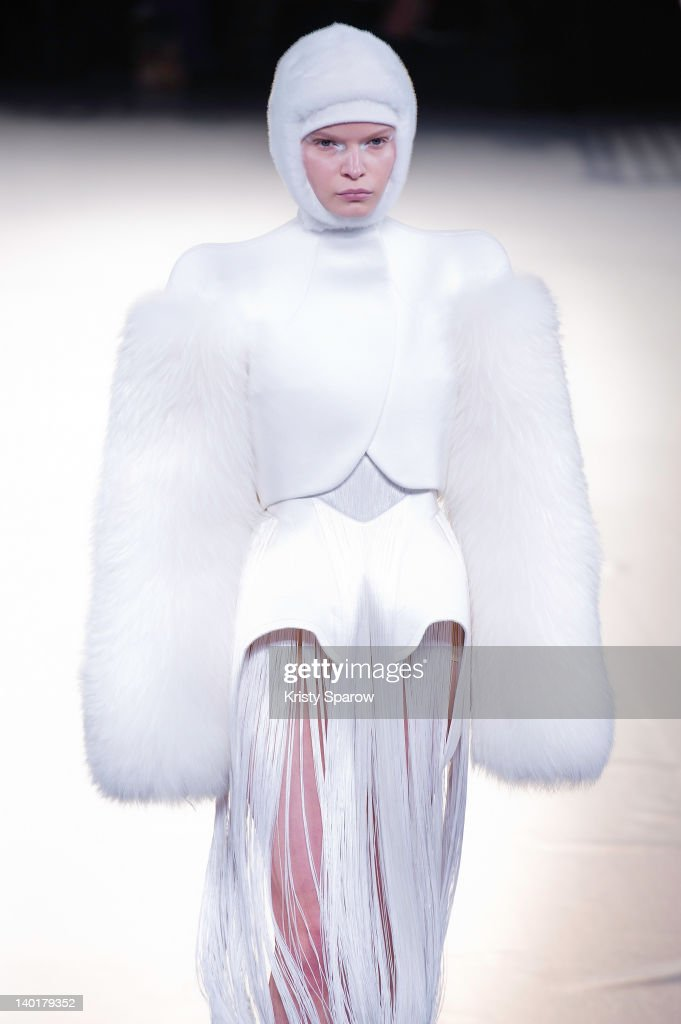 A model walks the runway during the Mugler Ready-To-Wear Fall/Winter 2013 show as part of Paris Fashion Week on February 29, 2012 in Paris, France.