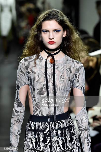Model walks the runway during the Mugler show as part of Paris Fashion Week Womenswear Fall/Winter 2019/2020 on February 27, 2019 in Paris, France.