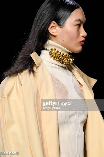 Model walks the runway during the Mugler show as part of Paris Fashion Week Womenswear Fall/Winter 2020/2021 on February 26, 2020 in Paris, France.