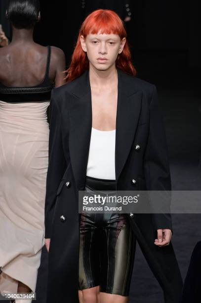 A model walks the runway during the Mugler show as part of the Paris Fashion Week Womenswear Spring/Summer 2019 on September 26 2018 in Paris France