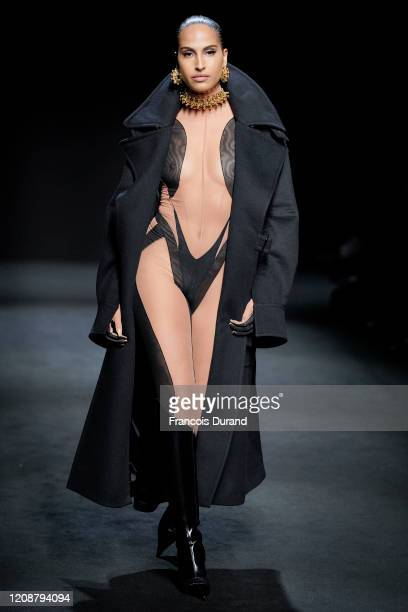 Model walks the runway during the Mugler show as part of the Paris Fashion Week Womenswear Fall/Winter 2020/2021 on February 26, 2020 in Paris,...