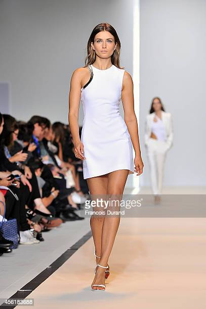 A model walks the runway during the Mugler show as part of the Paris Fashion Week Womenswear Spring/Summer 2015 on September 27 2014 in Paris France