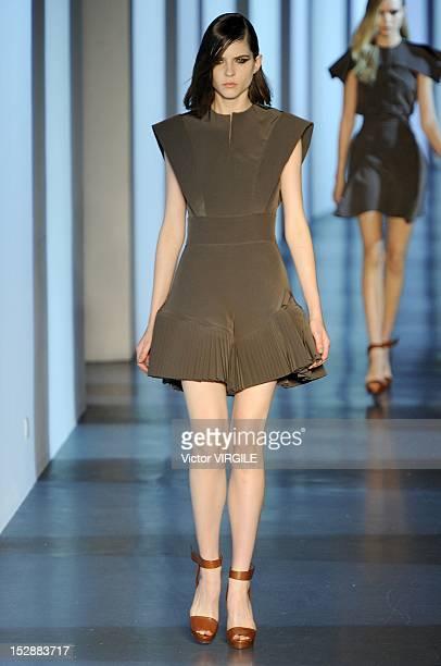 A model walks the runway during the Mugler Spring / Summer 2013 show as part of Paris Fashion Week at Cite de l'Architecture et du Patrimoine on...