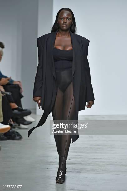 Model walks the runway during the Mugler Womenswear Spring/Summer 2020 show as part of Paris Fashion Week on September 25, 2019 in Paris, France.