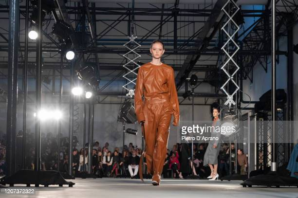 Model walks the runway during the N21 fashion show as part of Milan Fashion Week Fall/Winter 2020-2021 on February 19, 2020 in Milan, Italy.