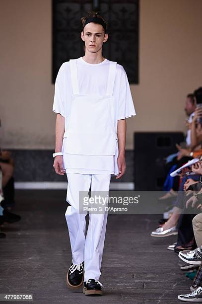 Model walks the runway during the N.21 fashion show as part of Milan Men's Fashion Week Spring/Summer 2016 on June 21, 2015 in Milan, Italy.