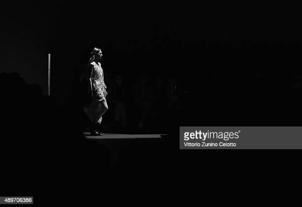 Model walks the runway during the N.21 fashion show as part of Milan Fashion Week Spring/Summer 2016 on September 23, 2015 in Milan, Italy.