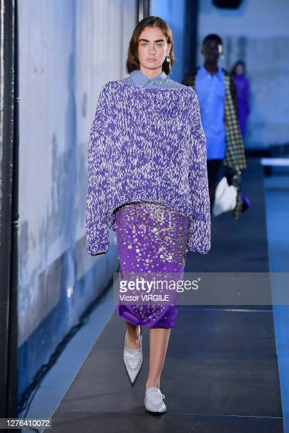 Model walks the runway during the N21 Ready to Wear Spring/Summer 2021 fashion show as part of the Milano Fashion Week Spring/Summer 2021 on...